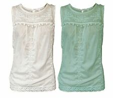NEW Ex Monsoon Ladies Pretty Embroidered Lace Sleeveless Blouse Mint / Cream