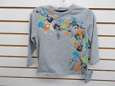 Boys Toddler Flapdoodles $25 Gray w/ Guitars Long Sleeved T-Shirt Size 3T