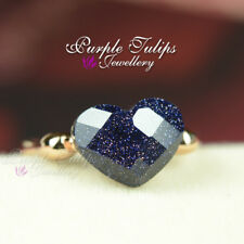 18CT Rose Gold Plated Starry Night Blue Heart Ring Made With SWAROVSKI Crystal