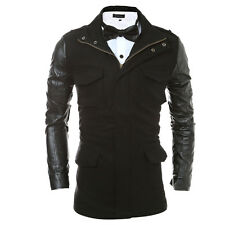 Stylish Mens Dust Coat Casual Outwear Trench Coat PU Leather Patchwork Jacket