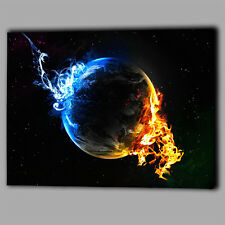 Earth Fire Smoke Abstract Water Canvas Wall Art Print Framed A1 Large Picture