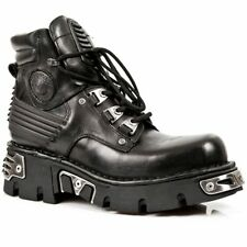 NEWROCK 924 Metallic Mens Black Gothic very classic COMFORTABLE Leather Boots
