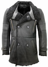Men's Double Breasted Warm Real Sheepksin Black Leather Reefer Coat