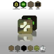 "1"" Square Tactical Morale Medic Red Cross Patch Fluorescent Badge CORDURA GLID"
