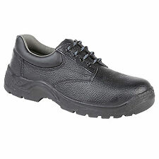 Mens New Black Leather Padded Collar Lace Up Safety Toe Cap Safety Work Shoes