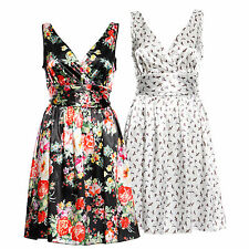 Ladies Sexy 1950s Satin Deep V Swing Floral Printed Flared Cocktail Party Dress