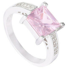 1Pc Silver Plated Pink Square Cubic Zirconia CZ Shiny Finger Ring Spirited
