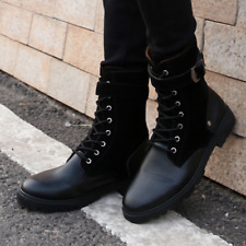 Mens lace up buckles casual military boots faux suede flat combat ankle shoes
