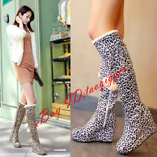 Sexy Leopard Womens Wedge Hidden Heel Gothic Winter Warm Boots Over Knee High Sz