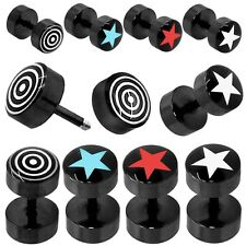 Fakeplugs 8mm Ear Studs Earrings Steel Circular Star Fake Plug Tunnel Piercing