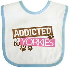 Inktastic Addicted To Yorkies Yorkshire Terrier Baby Bib yorkier dog breed pets