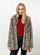 Miss Selfridge Faux Fur Leopard Animal Print Coat Vtg S M L UK 6 8 10 12 14 16