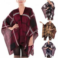 Oversized Knitted Checked Blanket Poncho Ruana Plaid Winter Warm Wrap Shawl Cape