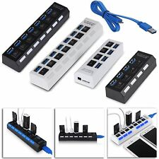 USB 3.0 Hub 4/7 Ports High Speed 5Gbps with on/off Switch for PC Laptop Mac WD99