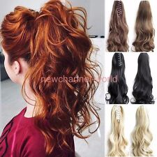 Long Straight Curly Hair Extensions Synthetic Clip-In Ponytail Claw Hairpiece y6