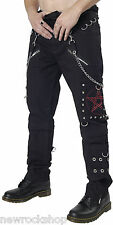 New Dead Threads Black Chain Men Trousers Cotton Studs Metal Punk Emo Rock