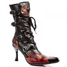 RARE NEW ROCK 9591-S1 RED FLAME LEATHER LADIES HELL BOOTS PUNK  GOTICH NEWROCK