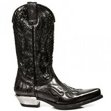 Newrock 7921 C1 New Rock Black Leather Western Snake Cowboy Biker Boots