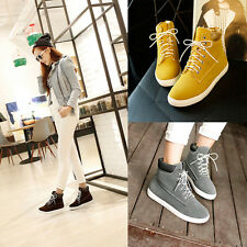 Women's Korean High Top Sneakers Faux Suede Lace Up Ankle Boots Causal Shoes