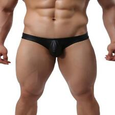 Mens Sexy Imitation Leather Briefs Underwear T-back G-string Thongs Shorts Tanga