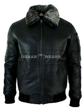 Flight A2 Bomber Police Pilot Real Leather Puffer Jacket Removable Fur Collar