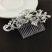 Silver Crystal Rhinestone Diamante Flower Hair Clip Comb Pain Apparel Accessorie