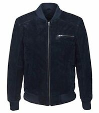 Mens 275 bumber BLUE soft SUEDE Classic Style Italian Fitted Real Leather Jacket