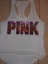 "VICTORIAS SECRET PINK RARE BLING BLING OMBRE SEQUIN TANKTOP ""PINK"" TEESHIRT NWT"