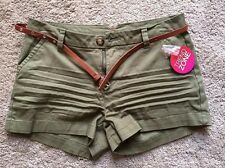 Bongo Juniors Washed Twill Belted Shorts - Green - NWT Girls Womens