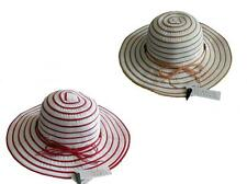 Womens Striped Crushable Packable Wide Brim Summer Beach Sun Hat One Size