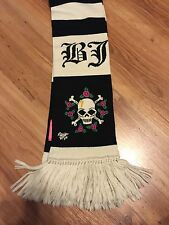 NWOT Betsey Johnson Knit Black Ivory Striped Skull Roses Lightning Bolt Scarf