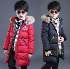 Boys Winter Outwear Coat 100% Cotton Jacket Fur Hooded School Jacket Parka 5-16y