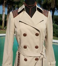 Cache $238 TRENCH COAT + BELT Jacket NWT XS/S/M/L pLEATHER + STUD TRIM LINED