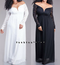 Plus Off Shoulder Sweetheart Lace Chiffon Empire Maxi Dress Gown