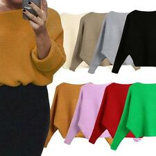 Womens Sweater Knitted Pullover Batwing Sleeve Loose Knitwear Top Jumper X5V3