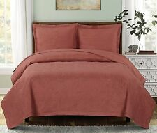 Full//Queen 3PC Set Emerson Quilt Luxury Wrinkle Free 100% Microfiber Coverlet