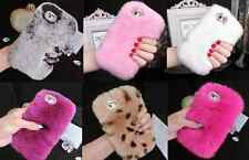 """NEW Diamonds Lens Ring Luxury Real Rabbit Hair Fur Cover Case for iPhone 7 4.7"""""""