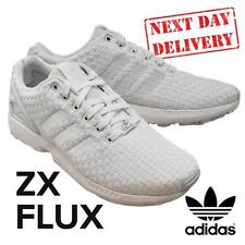 NEW 2017 ADIDAS ZX FLUX MENS WOVEN WHITE RUNNING TRAINING JOG SHOES TRAINERS