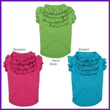 EAST SIDE DOG PUPPY TIERED RUFFLE SUMMER T TEE SHIRT GREEN PINK BLUE S S/M M M/L