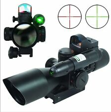 NEW 2.5-10X40 Tactical Rifle Scope w/ Green Laser & Reflex 3 MOA Red Dot Sight
