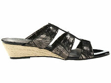 David Tate Oley Women Wedge Sandals Casual Shoes Black Patent/Pewter (B, M)  9.5