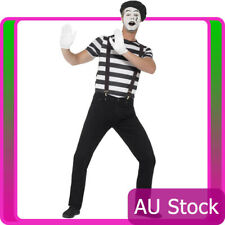 Mens Gentleman Mime French Artist Costume Circus Act Mens Fancy Dress Outfit