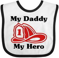 Inktastic Fireman: My Daddy, My Hero Baby Bib Helmet Fire Occupation Gift Infant