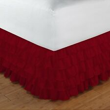 "Multi Ruffle 1 Qty Bed Skirt Drop 8-20"" Egyptian Cotton 1000 TC Burgundy Solid"