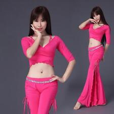 New Soft 2016 Women Belly Dance Costumes Set Outfit 2Pics Top&pants Trousers