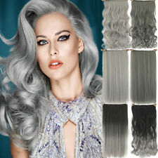 Clip In Natural Grey Hair Extensions Hairpiece Full Head Ombre Wavy Straight