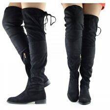 WOMENS LADIES KNEE THIGH HIGH LOW FLAT HEEL OVER THE KNEE STRETCH BOOTS SIZE UK