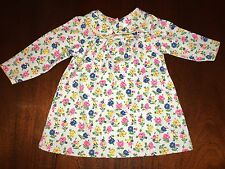 NWT Mini Boden 3-6M 6-12M or 12-18M  Dress Gray Floral Scalloped Trim