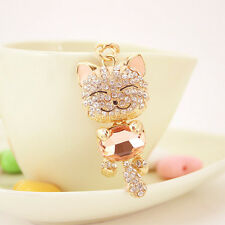 14K gold Cute Crystals Cat Women's Purse Handbag Car Charms Key Chain Key Ring