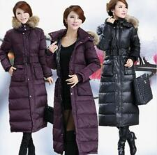 Super Long Duck Down Fur Collar Hood Women's Winter Jacket Snow Warm Parka Coat